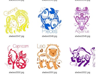 Outline-Zodiac ( 12 Machine Embroidery Designs from ATW )
