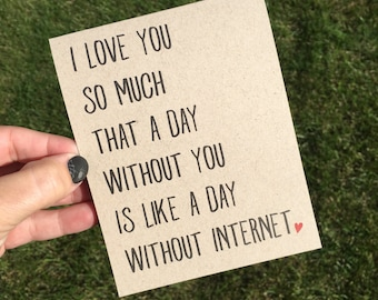 Funny I love You Card / Funny Relationship Card / LDR Card / Funny Love Card / Funny Valentine Card / Funny Anniversary Card / Love you card