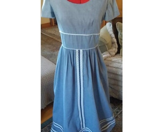 Handmade Vintage Blue Dress with blue & white lace details