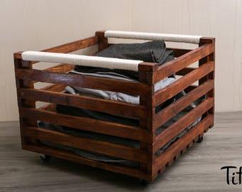 "Storage box 40 / 40cm ""Bin laundry"" wheels ""Mahogany"" 100% cotton handles"