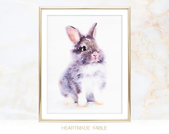 Watercolor Rabbit Painting Print Bunny Baby Animal Woodland Nursery Wall Room Decor Art Print Poster Printable Digital Instant Download