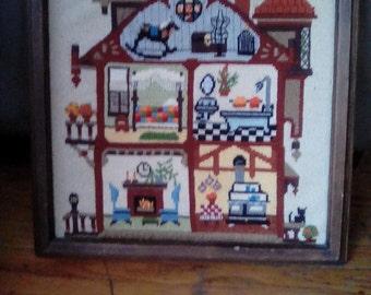 Framed Vintage Needlepoint of A House