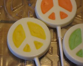 One dozen peace sign lollipops