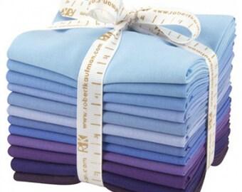 Fat Quarter Bundle Kona Cotton Solids - Blueberry Thicket - 12pcs - Robert Kaufman FQ-929-12