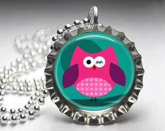 Owls and Birds Pendant, Owls and Birds Bottlecap Necklace, Bottlecap Pendant Jewelry, Free Ball Chain