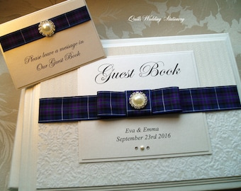 Personlised Wedding Guest Book with Tartan Ribbon. Scottish Guest Book. Many Different Tartan Options for Ribbon.