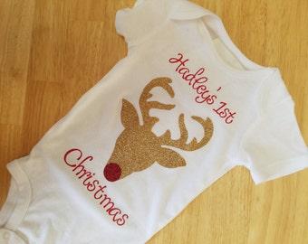 babys first christmas onesie christmas baby bodysuit custom christmas baby gift