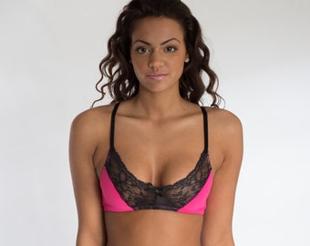 Hot Pink and Black Lace Bra Top - More Colors