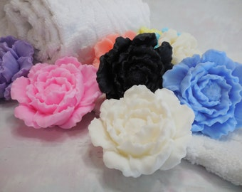 Peony Soap Favors - Bridal Shower - Wedding Soap Favor - Baby Shower Favor - Decorative Floral Peony Flower - Birthday Party Favor - 10 pk