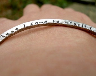 Personalized Silver Bangle Bracelet Inscribed with Custom Message in Hammered Sterling Gift for Friend