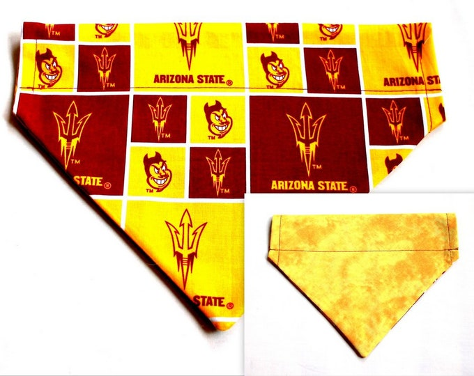 ARIZONA STATE ~ Over the Collar ~ Reversible ~ Dog Pet Bandana ~ Bell Art Designs ~ Large DCL0145