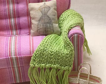 Shabby Chic Handmade Miniature Dollhouse Sofa Throw - Small Hand Knitted with Fringe (pattern stitch) - Pick a Color