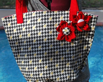 University of Alabama Crimson Tide Crimson and Houndstooth Flower Tote Bag Purse with or without Monogramming