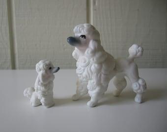 Pair of Porcelain Poodle Figurines Made in Japan Genuine Bone China