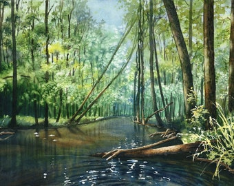 One summer ORIGINAL WATERCOLOR PAINTING water river forest landscape