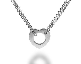 Modern Open Heart Necklace with Double Stainless Steel Chain