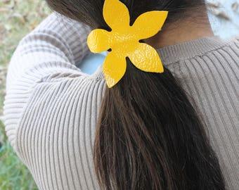 Leather hair Accessories, Hair Ties, Leather Hair Tie, Hair Elastic, Pony Tail Holder, Hair Tie, Leather Tie, Tie, Yellow Flower Tie, Flower