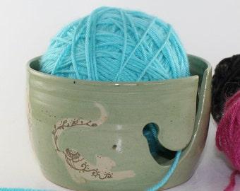 Mehndi Cats Green Yarn Bowl