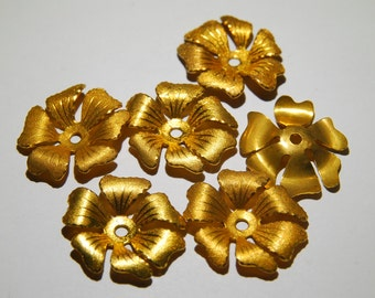 6 Vintage  Brass Flowers - Center Drilled