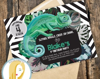 Lizard invitation Etsy