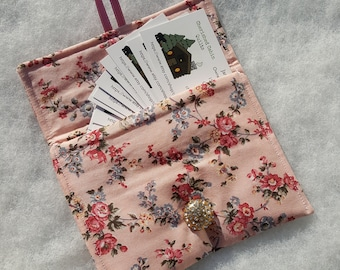 SALE Pink Floral Fabric Case, Perfect for Money, Business Cards or Cell Phone