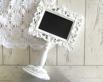 Wedding Chalkboard, Table Number Frame, White Frame, Chalkboard Pedestal Frame, White Shabby Frame