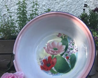 Stunning Large Vintage Enamel Bowl