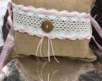 Burlap and lace ring bearer pillow with button and lace accents
