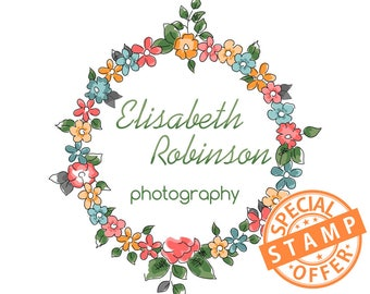 Premade custom photography logo, floral wreath logo, flowers logo, round circle logo with color variety transparent black & white watermarks