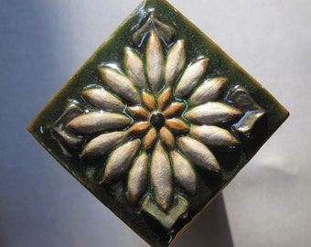 Eye Catching Renaissance Pinflower Accent Tile Handmade at Forest House