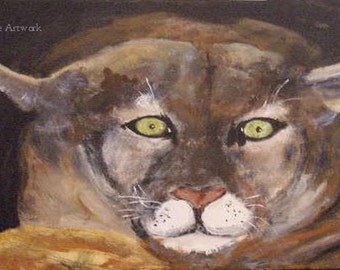 Original wildlife, acrylic painting, Cougar, 16 x 20 stretched canvas, modern art, art for sale