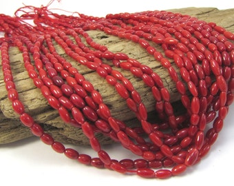 Red Bamboo Coral Beads, 6x3mm Oval Beads, Red Coral Beads, 16 inch Strand, 6mm Red Beads, Beading Supplies, Item 1167gsc