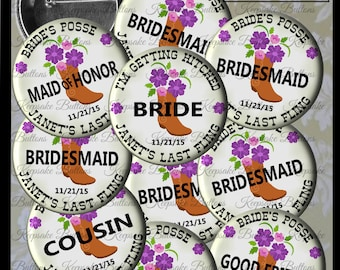 "Bachelorette Party Buttons, 2.25"" Custom  Country Wedding Pins, Bride's Posse, I'm Getting Hitched, Girls Night Out, Cowgirl Boot & Flowers"