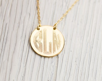 Personalized Letters Disc Jewelry, Gold Circle Monogram Necklace, Rose Gold Three Initials Disk Necklace, Silver Circle Charm Necklace