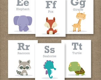 Alphabet Animal Flash Cards, Printable. SMALL CAPS 4x5in (10x13cm)