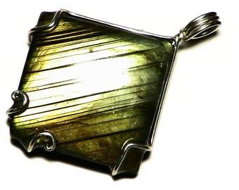 Yellow Labradorite Pendant, Silver Labradorite Wire Wrap Necklace, Square Jewelry Necklace, Golden Labradorite Jewelry, Striped Jewelry Gift