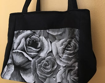 Beth#69,  Rose Project Tote in Black, Gray and White, Rose Knitting Bag, Rose Project Tote, Knitting Project Bag, Expanding Project Tote,