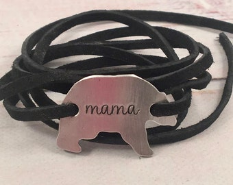 Mama Bear leather wrap bracelet