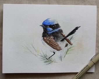 Blue Fairy Wren watercolor card-print