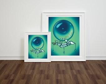 Skeleton Prophet Art Print, Skeleton Wall Art, 8x10 Crystal Ball Art Print, 5x7 Crystal Ball Art Print