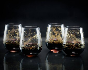 Night Sky Star Chart Stemless Wine Glasses Northern & Southern Hemisphere (Set of 4) | Astronomy Stars Space Science Star Map Constellation,
