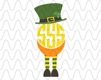 Leprechaun Hat Beard Monogram Shamrock Luck St. Patrick's Day Patty's Irish Bundle Clip Art SVG Cut Files Silhouette Cricut Design File