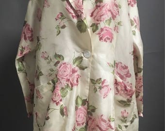 Vintage 80s 90s silk floral duster dress- 1950s swing coat style