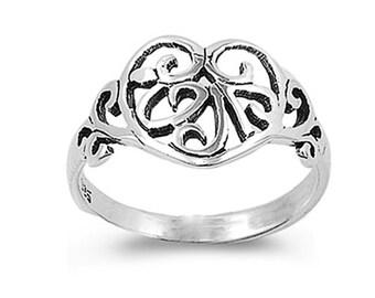 Women Sterling Silver Filigree Heart Ring 12mm / Free Gift Box(SNRP141341)
