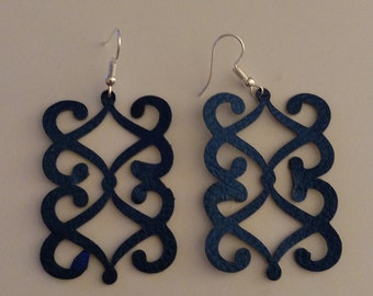 Spiral Dangle Earrings - Faux Leather