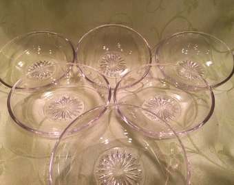 Vintage Pressed Glass Clear Berry Bowls Set of 6