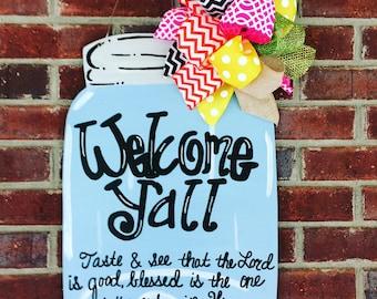 Mason Jar Door Hanger, Jar Door Hanger, Summer Door Hanger, Summer Wreath, Door Hanger, Mason Jar