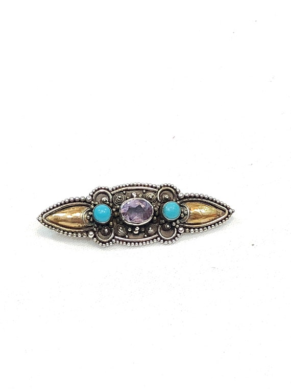 Small Sterling Silver Turquoise Amethyst Pin, Gold Washed Beaded Wire Work, February Birthstone, Vintage Victorian Revival Gemstone Brooch