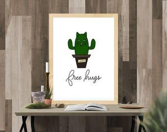 Cat Lover Cactus Print