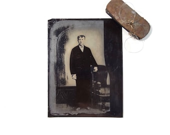 Vintage Tintype Photo of Man with Hand Painted Suit / Full Plate Victorian Era Tintype Photograph